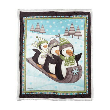 Debbie Mum® Sledding Penguins Sherpa Throw Blanket view 1