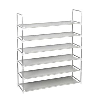 Gray 6-Shelf Standing Shoe Rack