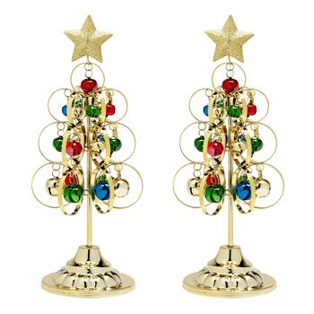 Gold Standing Metal Trees with Ornaments, Set of 2