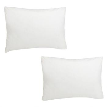 Feather-Filled Cotton Bed Pillows, Set of 2
