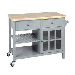 Gray 2-Drawer/1-Door Rolling Kitchen Island
