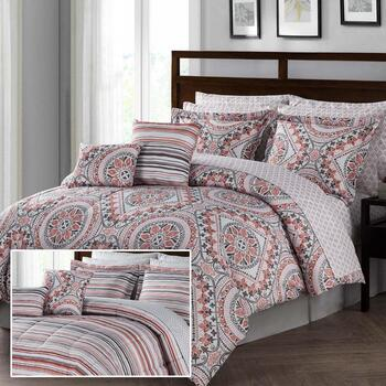 Red/Gray Medallion Reversible Comforter Set, 12-Piece