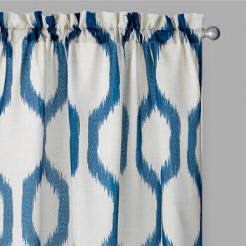 Perfect Window Navy/White Herschel Window Curtains, Set of 2