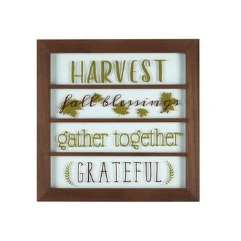 "18"" ""Harvest, Fall Blessings, Gather, Grateful"" Framed Wood/Glass Wall Decor"