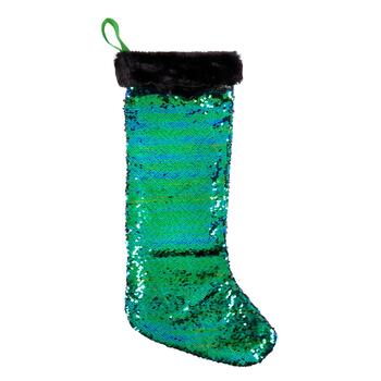Peacock Green/Black Sequined Stocking