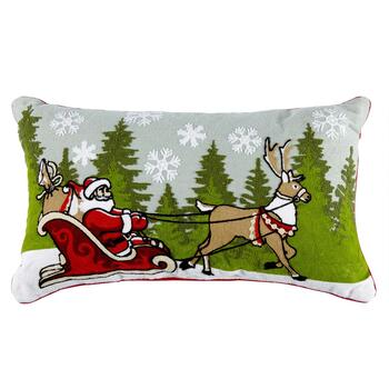 Santa and Reindeer Crewel Cotton Oblong Throw Pillow