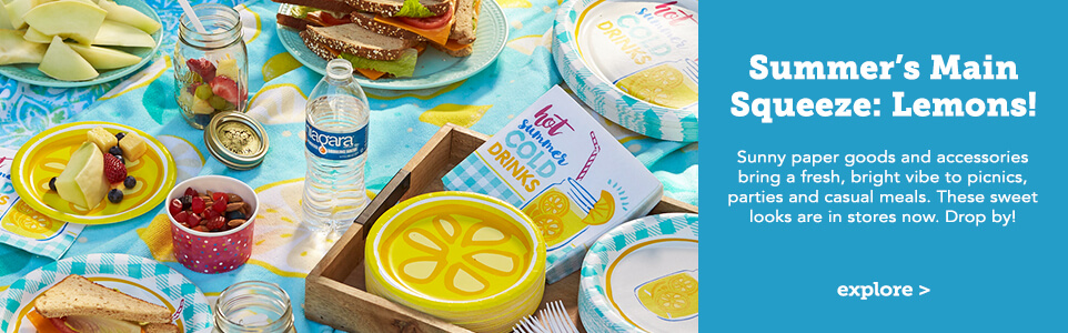 Summers Main Squeeze Lemons. Sunny paper goods and accessories bring a fresh, bright vibe to picnics, parties, and casual meets. These sweet looks are in store snow. Drop by. Click here to explore.