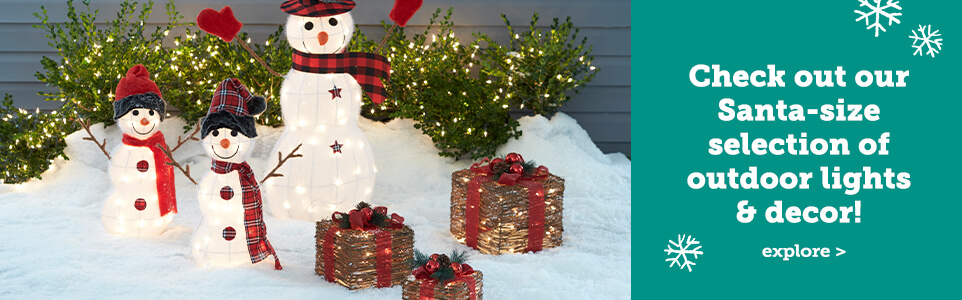 Check out our Santa-size selection of outdoor lights & decor.!
