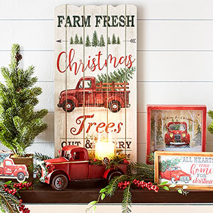 Old Red Truck With Christmas Tree In Back.Holiday Happy Christmas Tree Shops And That Home Decor