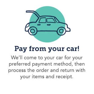 We'll come to your car for your preferred payment method, then process the order and return with your items and receipt.