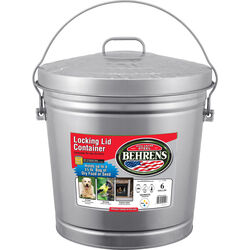 Behrens 6 gal. Galvanized Steel Garbage Can Lid Included Animal Proof/Animal Resistant