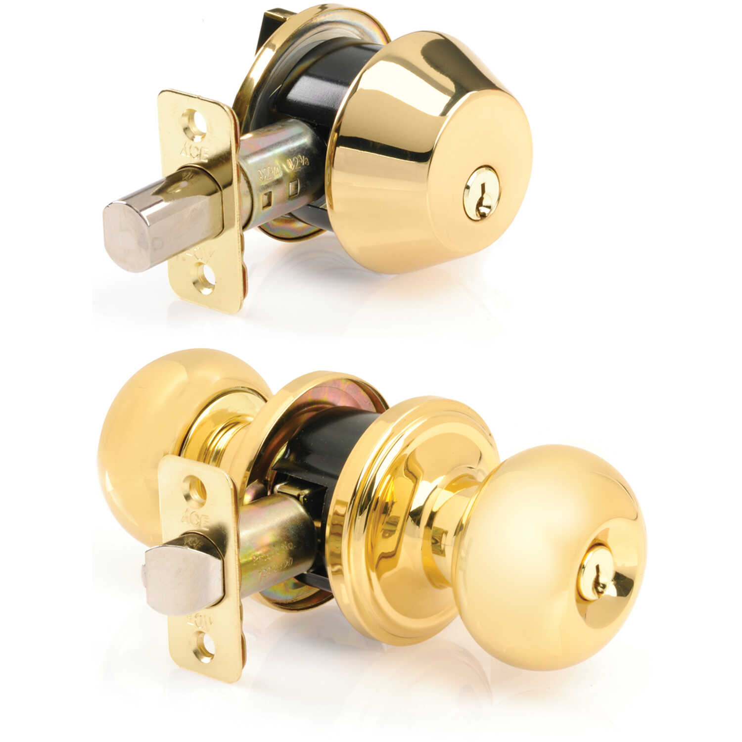 Ace  Colonial  Polished Brass  Steel  Knob and Deadbolt Set  ANSI Grade 2  1-3/4 in.