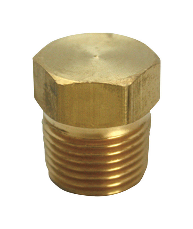 Ace  3/8 in. MPT   x 3/8 in. Dia. Compression  Compression  Yellow Brass  Hex Head Plug