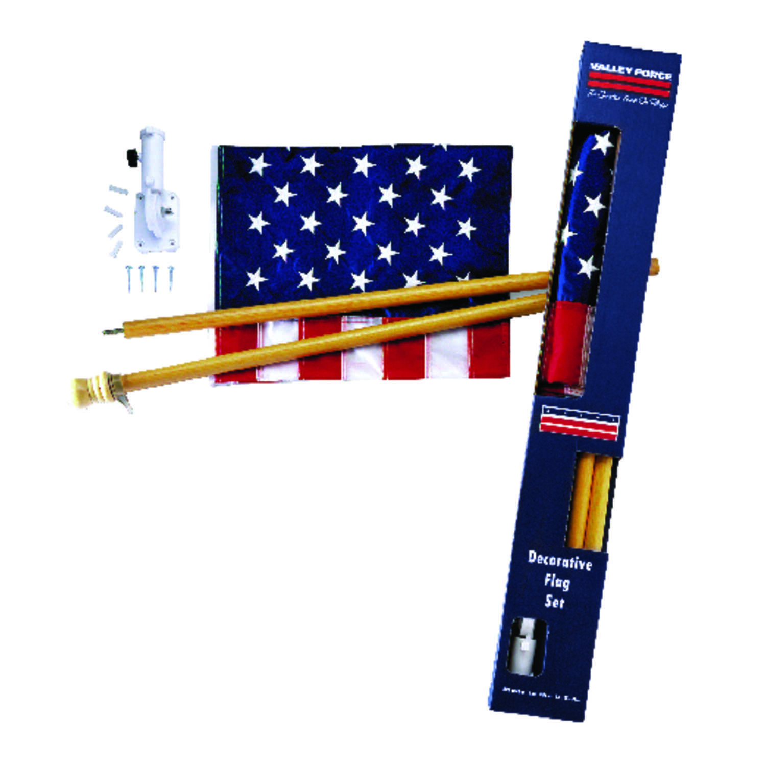 Valley Forge  American  48 in. W x 2-1/2 ft. H Flag Kit