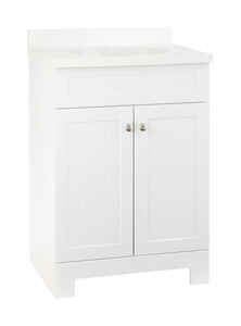 Continental Cabinets  Single  Satin  White  Vanity Combo  24 in. W x 18 in. D x 33-1/2 in. H