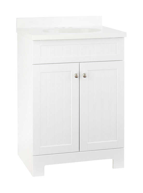 Continental Cabinets Single White Vanity Combo 33 1 2 In