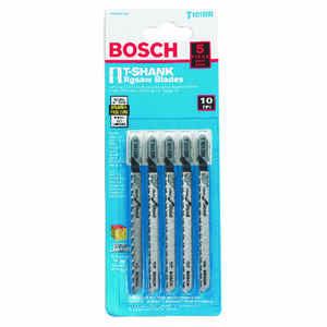 Bosch  4 in. High Carbon Steel  T-Shank  Ground teeth and taper ground back  Jig Saw Blade  10 TPI 5