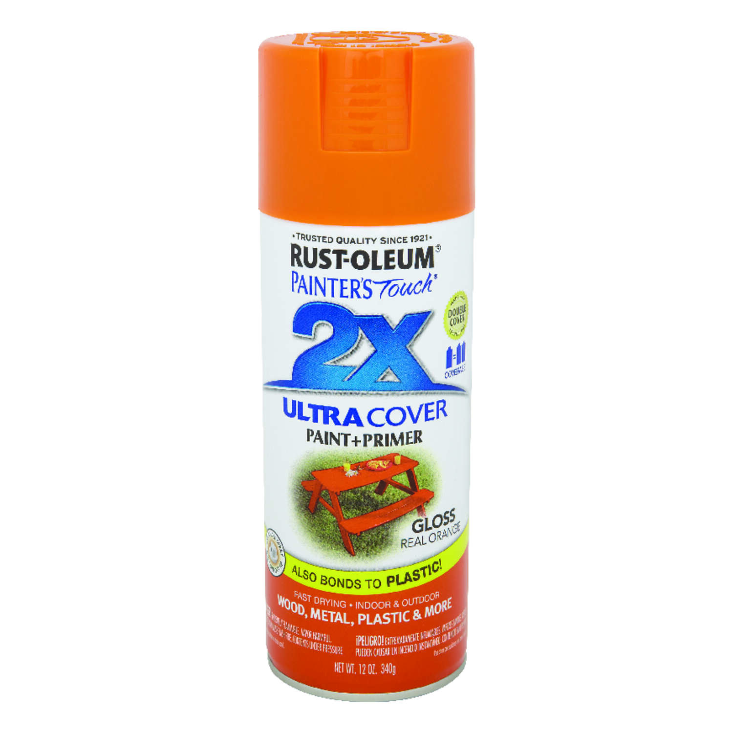 Rust-Oleum  Painter's Touch 2X Ultra Cover  Gloss  Real Orange  Spray Paint  12 oz.
