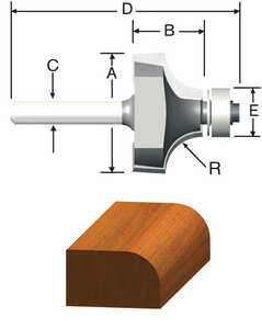 Vermont American  5/8 in. Dia. x 1/16 in. Radius   x 2 in. L Carbide Tipped  Round Over  Router Bit