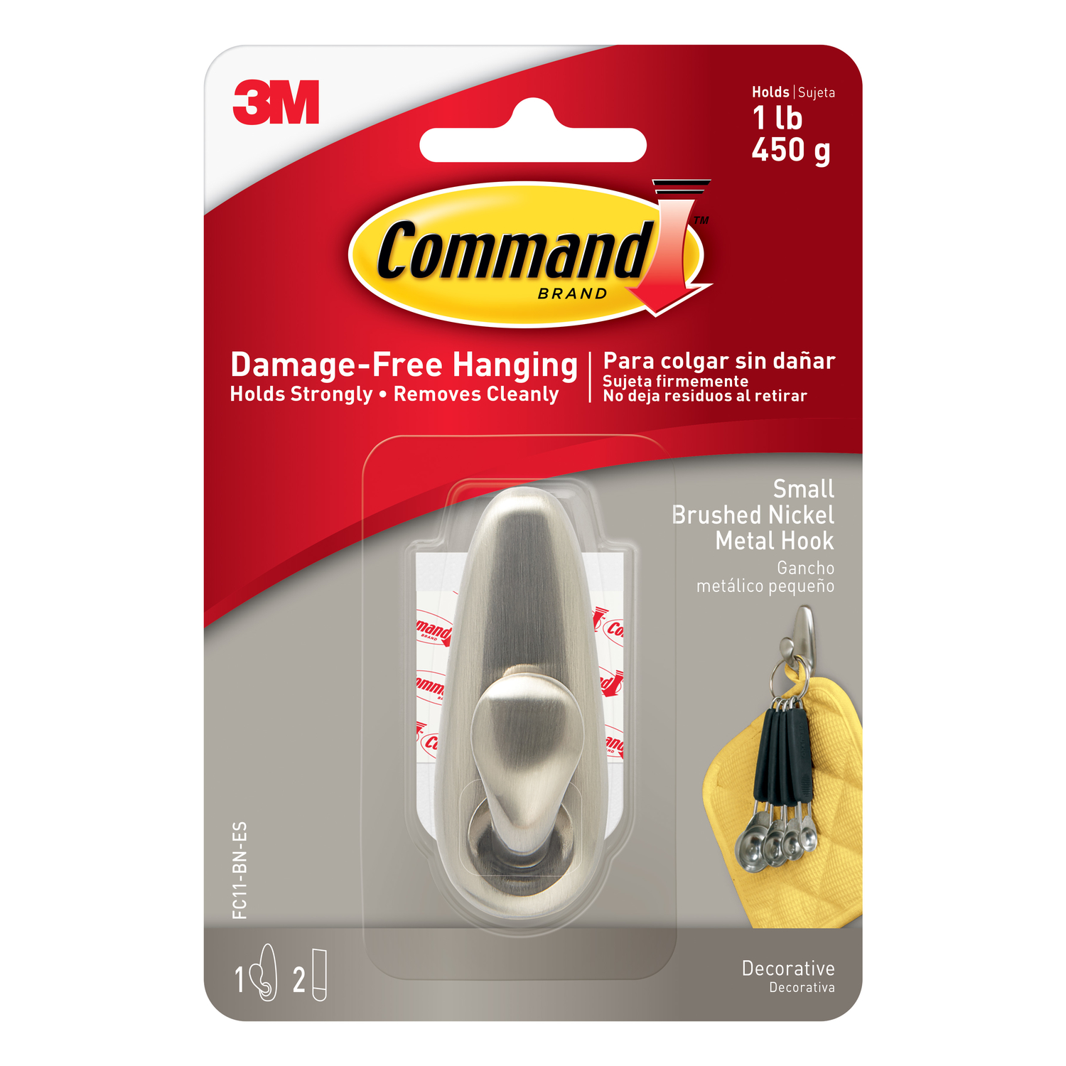 3M  Command  2-5/8 in. L Metal  Small  Forever Classic  Coat/Hat Hook  1 lb. capacity Brushed Nickel