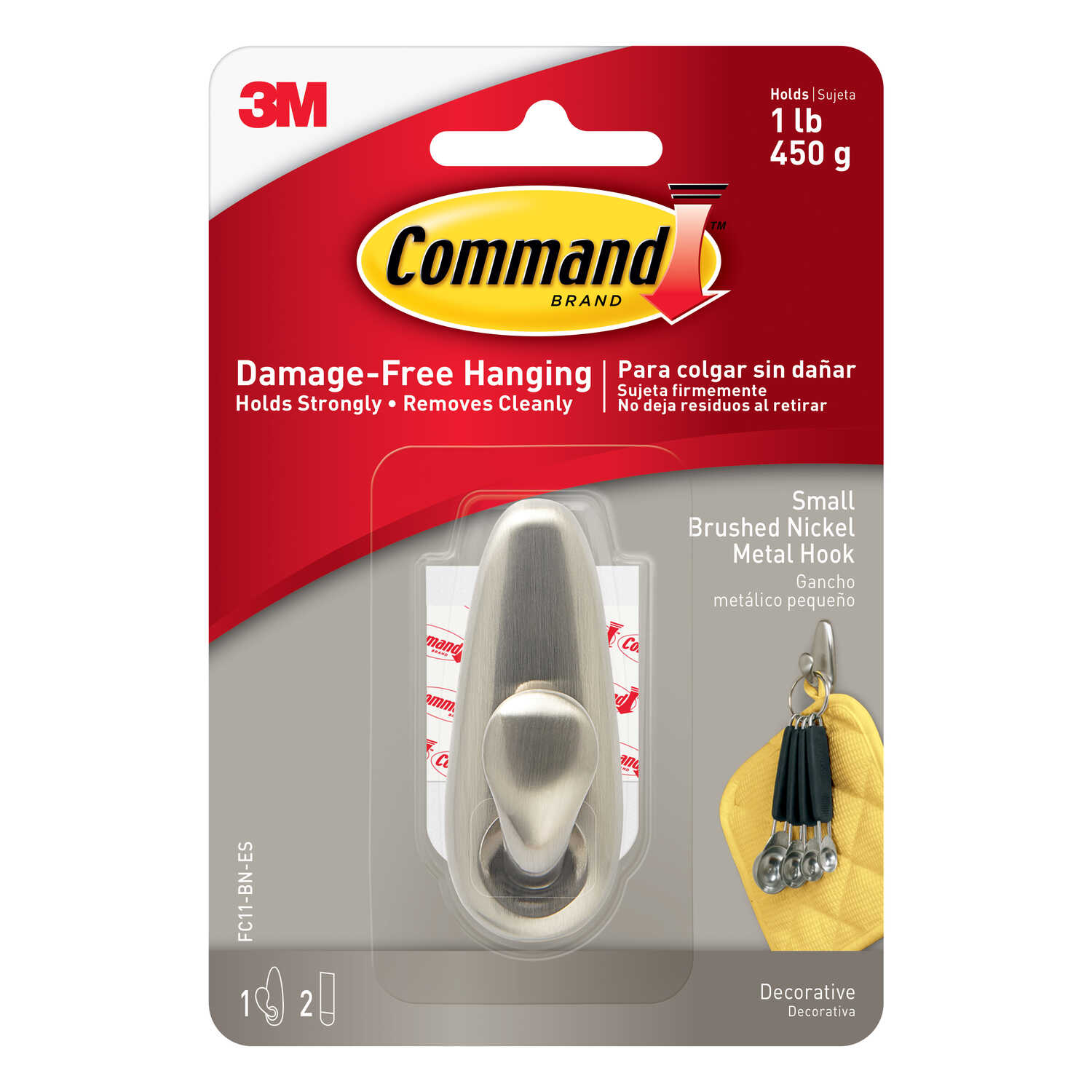 3M  Command  2-5/8 in. L Brushed Nickel  Metal  Small  Forever Classic  Coat/Hat Hook  1 lb. capacit