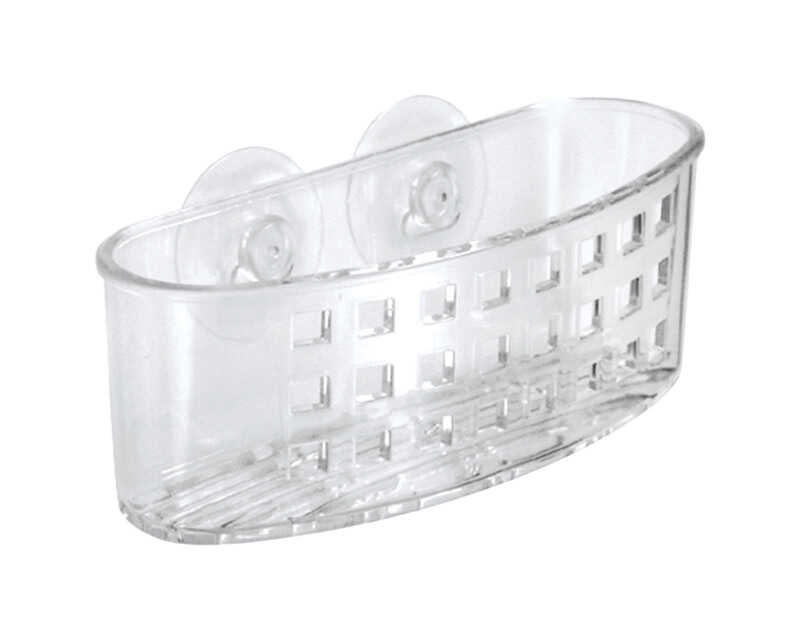 InterDesign  2.5 in. W x 6.5 in. L Clear  Suction Sponge and Scrubber Center