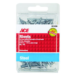 Ace  1/8 in. Dia. x 1/4 in.  Steel  Rivets  Silver  100 pk