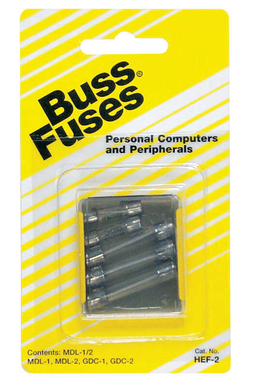 Bussmann  Assorted amps 250 volts Glass  Glass Tube Fuse  5 pk
