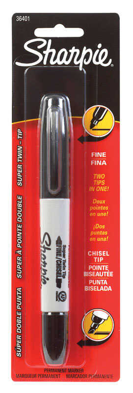 Sharpie  Twin Tip  Black  Fine and Chisel Tips  Permanent Marker  1 pk