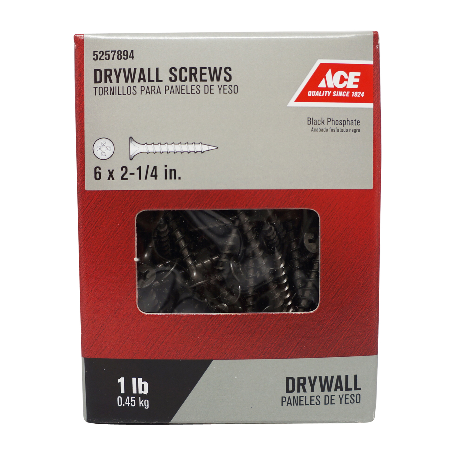 Ace  No. 6   x 2-1/4 in. L Phillips  Bugle Head Black Phosphate  Steel  Drywall Screws  1 lb. 174