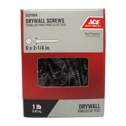 Ace  No. 6   x 2-1/4 in. L Phillips  Drywall Screws  1 lb. 174 pk