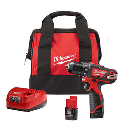 Milwaukee  12 volt 3/8 in. Brushed  Cordless Drill/Driver  Kit (Battery & Charger)