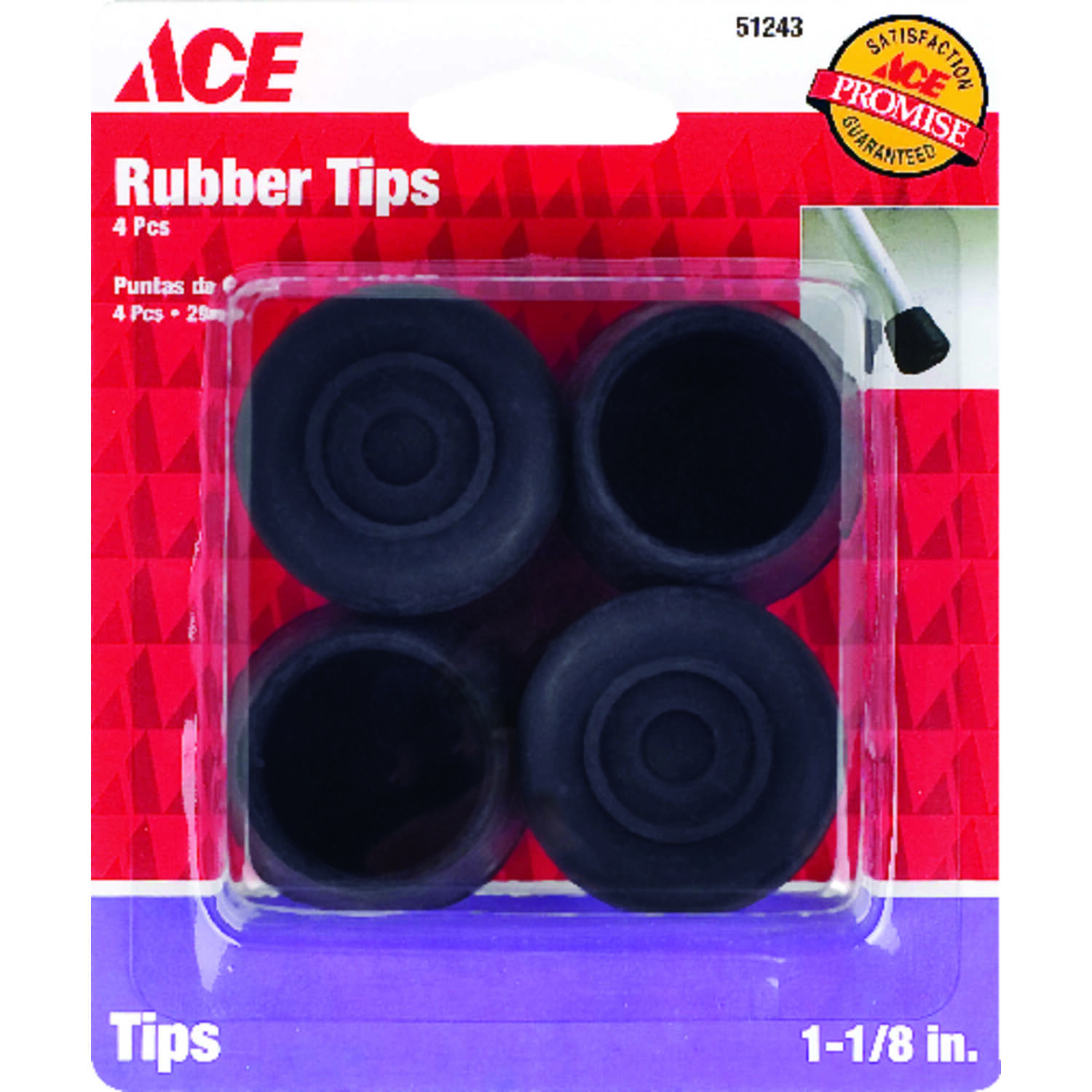 Ace  Rubber  Leg Tip  Black  Round  1-1/8 in. W 4 pk