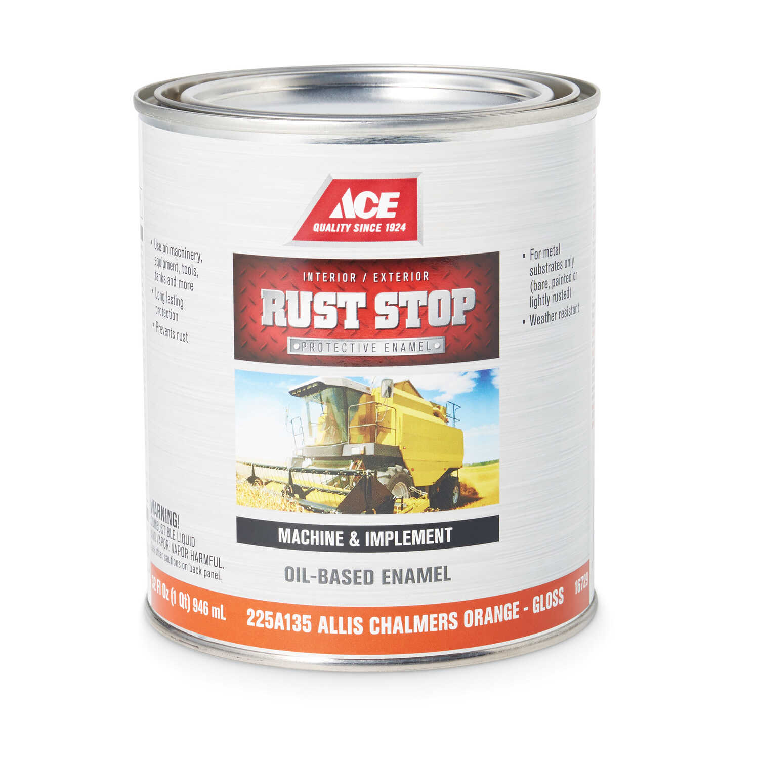 Ace  Rust Stop  Indoor and Outdoor  Gloss  Allis Chalmers Orange  Interior/Exterior  Rust Prevention