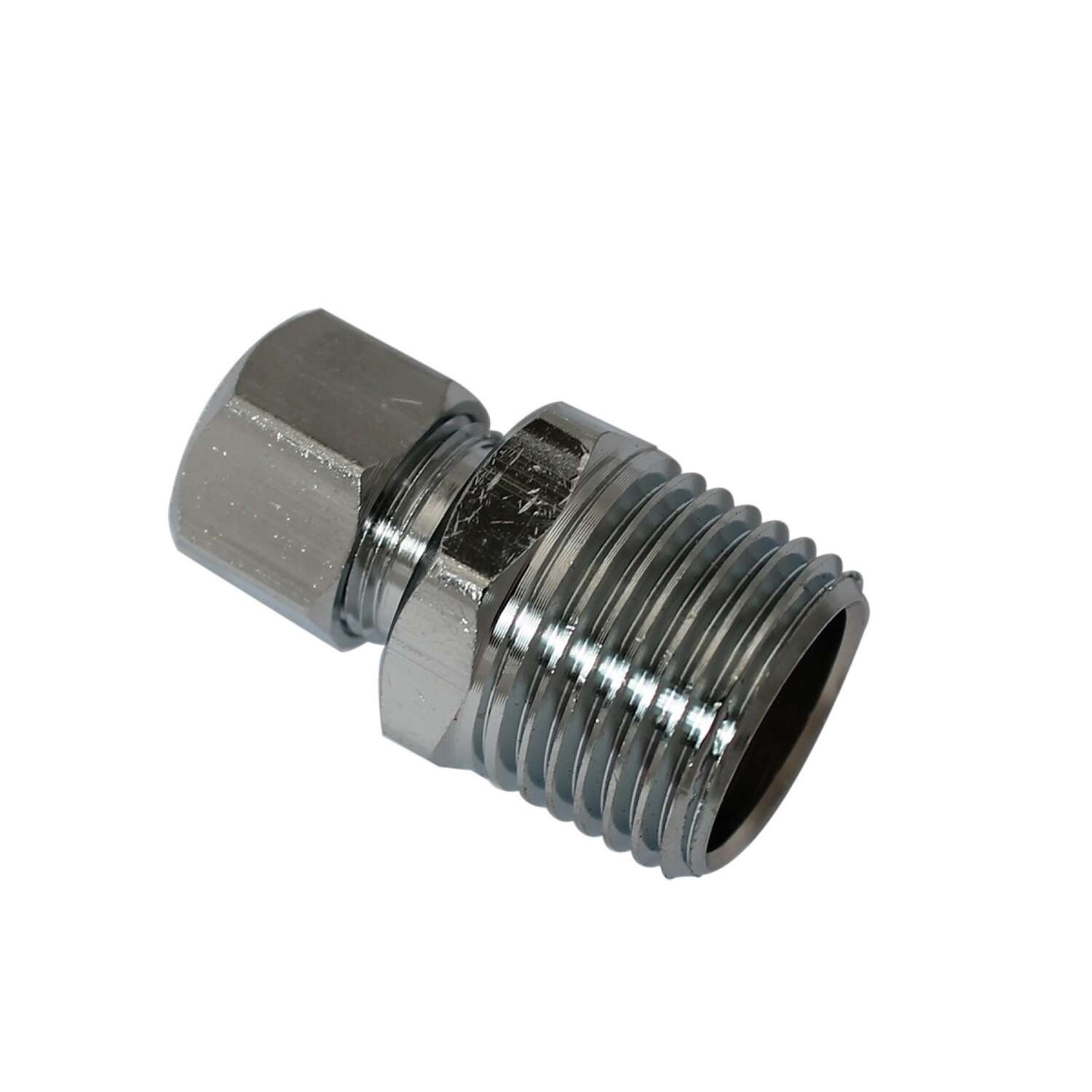 Plumb Pak  1/2 in. MIP   x 3/8 in. Dia. Compression  Brass  Straight Connector