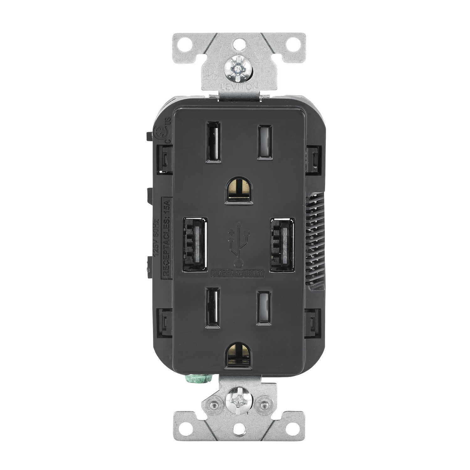 Leviton  Decora  15 amps 125 volt Black  Outlet and USB Charger  5-15R  1 pk