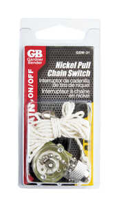 Gardner Bender  Pull Chain Switch  Nickel