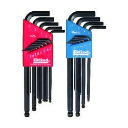 Eklind Tool Metric and SAE Long Arm Ball Hex L-Key Set 22 pc.