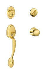 Schlage  Traditional  Bright Brass  Brass  Handleset  1  Right or Left Handed
