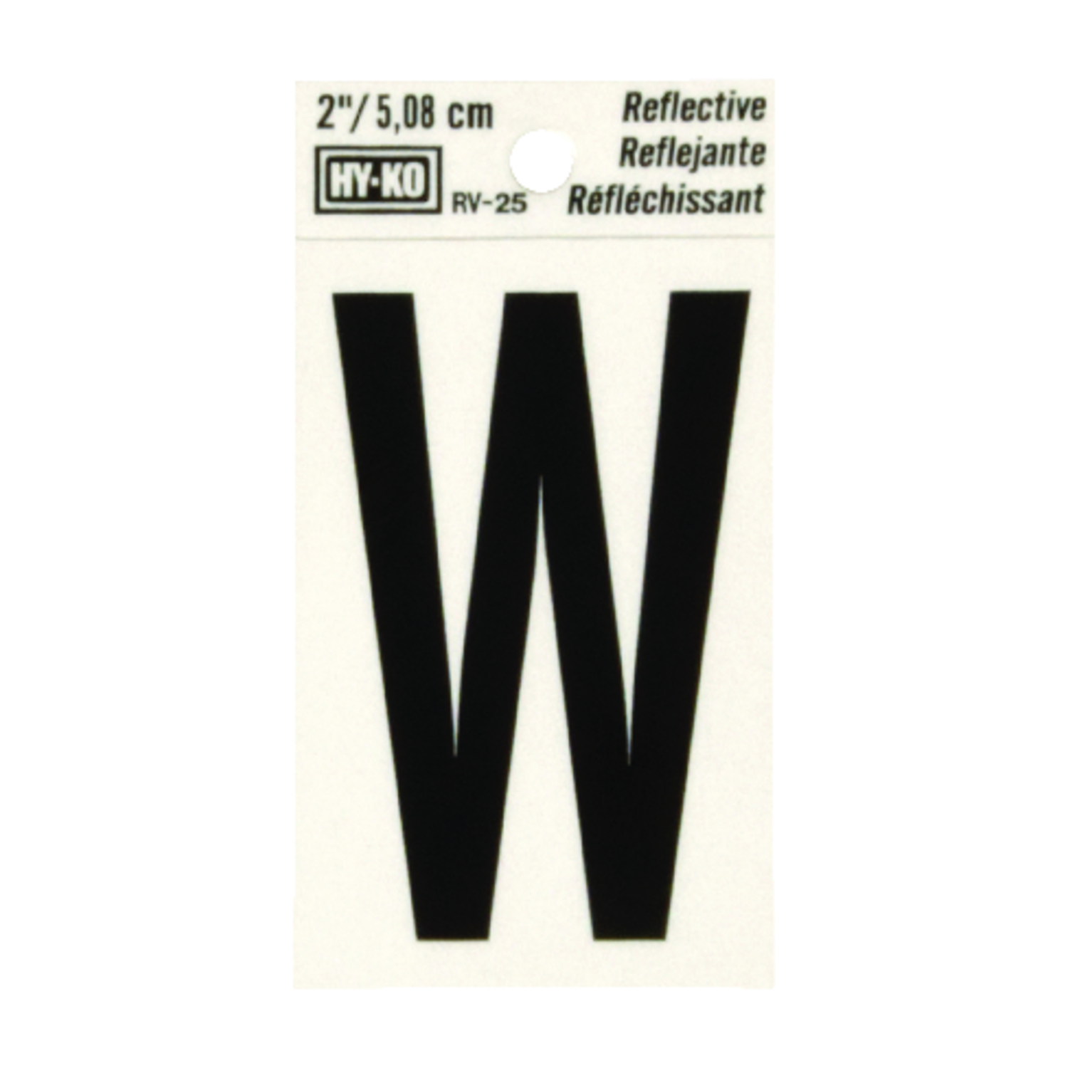 Hy-Ko  Vinyl  Reflective W  2 in. Self-Adhesive  Letter  Black