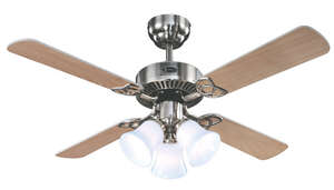 Westinghouse  Crusader  18.9  4  Indoor  Brushed Nickel  Ceiling Fan  42 in. W