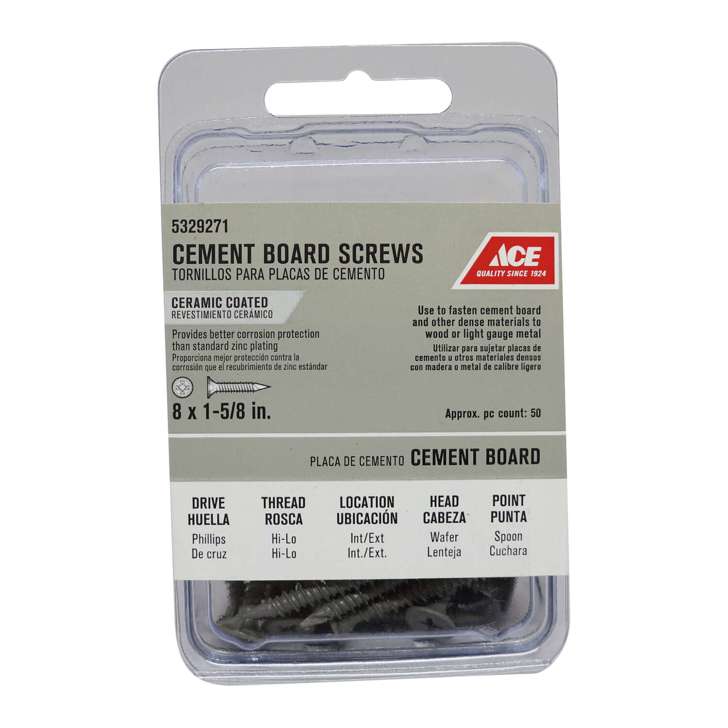 Ace  No. 8   x 1-5/8 in. L Phillips  Wafer Head Cement Board Screws  50 pk
