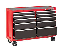 Craftsman 52 in. 10 drawer Steel Rolling Tool Cart 37.5 in. H x 18 in. D Black/Red