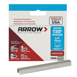 Arrow Fastener  T50  3/8 in. L 18 Ga. Flat Crown  Heavy Duty Staples  1000 pk