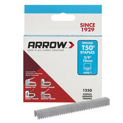 Arrow Fastener #506 T50 3/8 in. W x 3/8 in. L Flat Crown Heavy Duty Staples 1250 pk