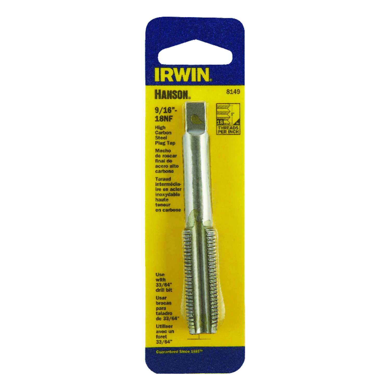 Irwin  Hanson  High Carbon Steel  SAE  Fraction Tap  9/16 in.-18NF  1 pc.