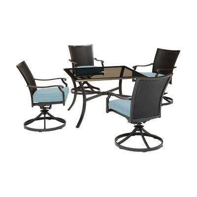 Hanover  5 pc. Bronze  Aluminum Frame Traditional  Dining Set  Blue