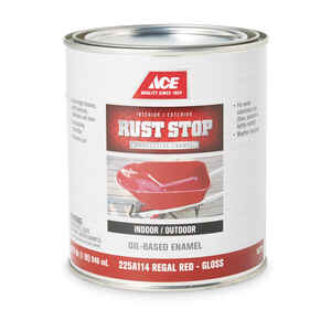 Ace  Rust Stop  Indoor and Outdoor  Gloss  Regal Red  Rust Prevention Paint  1 qt.