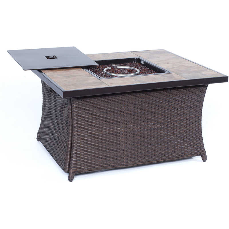 Hanover  Coffee Table  LP Gas  Metal  Outdoor Fireplace  35.8 in. W x 43.8 in. D x 23.5 in. H