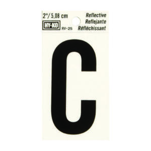 Hy-Ko  2 in. Reflective Black  Vinyl  Letter  C  Self-Adhesive  1 pc.